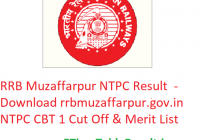 RRB Muzaffarpur NTPC Result 2019 - Download rrbmuzaffarpur.gov.in NTPC CBT 1 Exam Cut Off & Merit List