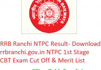 RRB Ranchi NTPC Result 2019 - Download rrbranchi.gov.in NTPC 1st Stage CBT Exam Cut Off & Merit List
