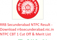 RRB Secunderabad NTPC Result 2019 - Download rrbsecunderabad.nic.in NTPC 1st Stage CBT Cut Off & Merit List