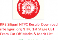 RRB Siliguri NTPC Result 2019 - Download rrbsiliguri.org NTPC 1st Stage CBT Exam Cut Off Marks & Merit List