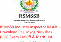 RSMSSB Industry Inspector Result 2019 - Download Raj Udyog Nirikshak (IEO) Exam CutOff & Merit List