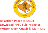 Rajasthan Police SI Result 2019 - Download RPSC Sub Inspector Written Exam Merit List