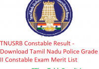 TNUSRB Constable Result 2019 - Download Tamil Nadu Police Grade II Constable Exam Merit List