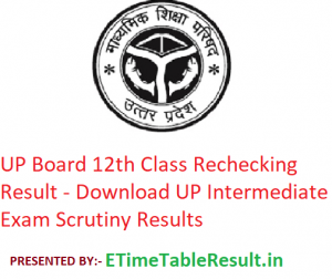 UP Board 12th Class Rechecking Result 2019 - Download UP Intermediate Exam Scrutiny Results