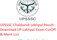 UPSSSC Chakbandi Lekhpal Result 2019 - Download UP Lekhpal Exam CutOff & Merit List