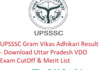 UPSSSC Gram Vikas Adhikari Result 2019 - Download Uttar Pradesh VDO Exam CutOff & Merit List