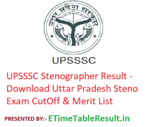 UPSSSC Stenographer Result 2019 - Download Uttar Pradesh Steno Exam CutOff & Merit List