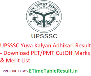 UPSSSC Yuva Kalyan Adhikari Result 2019 Download PET/PMT CutOff Marks & Merit List