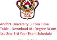 Andhra University B.Com Time Table 2020 - Download AU Degree BCom 1st-2nd-3rd Year Exam Schedule