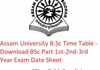 Assam University B.Sc Time Table 2020 - Download BSc Part 1st-2nd-3rd Year Exam Date Sheet