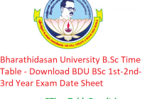 Bharathidasan University B.Sc Time Table 2020 - Download BDU BSc 1st-2nd-3rd Year Exam Date Sheet