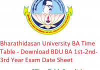 Bharathidasan University BA Time Table 2020 - Download BDU BA 1st-2nd-3rd Year Exam Date Sheet