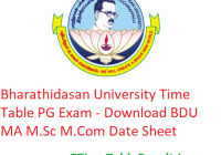 Bharathidasan University Time Table 2020 PG Exam - Download BDU MA M.Sc M.Com Date Sheet