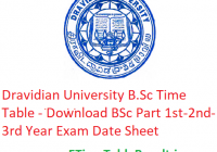 Dravidian University B.Sc Time Table 2020 - Download BSc Part 1st-2nd-3rd Year Exam Date Sheet
