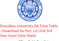 Dravidian University BA Time Table 2020 - Download ba Part 1st-2nd-3rd Year Exam Date Sheet