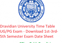 Dravidian University Time Table 2019-20 - Download 1st-3rd-5th Semester Exam Date Sheet