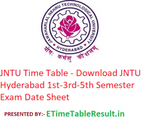 JNTU Time Table 2019-20 - Download JNTU Hyderabad 1st-3rd-5th Semester Exam Date Sheet