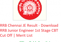 RRB Chennai JE Result 2019 - Download RRB Junior Engineer 1st Stage CBT Cut Off | Merit List