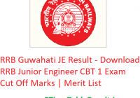 RRB Guwahati JE Result 2019 - Download RRB Junior Engineer CBT 1 Exam Cut Off Marks | Merit List
