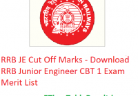 RRB JE Cut Off 2019 - Download RRB Junior Engineer CBT 1 Exam Merit List
