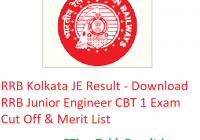 RRB Kolkata JE Result 2019 - Download RRB Junior Engineer CBT 1 Exam Cut Off & Merit List