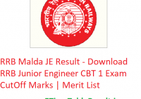 RRB Malda JE Result 2019 - Download RRB Junior Engineer CBT 1 Exam CutOff Marks | Merit List