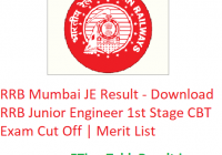 RRB Mumbai JE Result 2019 - Download RRB Junior Engineer 1st Stage CBT Exam Cut Off | Merit List