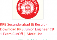 RRB Secunderabad JE Result 2019 - Download RRB Junior Engineer CBT 1 Exam CutOff | Merit List