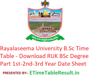 Rayalaseema University B.Sc Time Table 2020 - Download RUK BSc Degree Part 1st-2nd-3rd Year Date Sheet