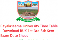 Rayalaseema University Time Table 2019-20 - Download RUK 1st-3rd-5th Semester Exam Date Sheet