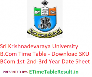 Sri Krishnadevaraya University B.Com Time Table 2020 - Download SKU BCom Degree 1st-2nd-3rd Year Exam Date Sheet