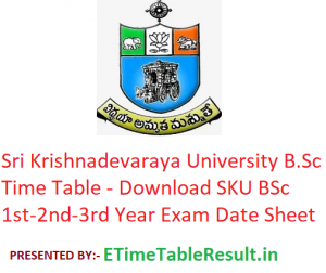 Sri Krishnadevaraya University B.Sc Time Table 2020 - Download SKU BSc Degree 1st-2nd-3rd Year Exam Date Sheet