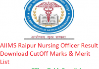 AIIMS Raipur Nursing Officer Result 2019 Download CutOff Marks & Merit List