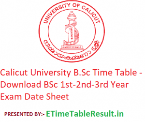 Calicut University B.Sc Time Table 2020 - Download BSc 1st-2nd-3rd Year Exam Date Sheet
