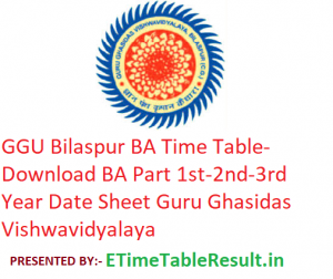GGU Bilaspur BA Time Table 2020 - Download BA Part 1st-2nd-3rd Year Date Sheet Guru Ghasidas Vishwavidyalaya