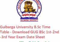 Gulbarga University B.Sc Time Table 2020 - Download GUG BSc 1st-2nd-3rd Year Exam Date Sheet