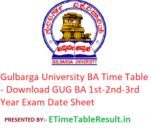 Gulbarga University BA Time Table 2020 - Download GUG BA 1st-2nd-3rd Year Exam Date Sheet