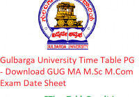 Gulbarga University Time Table 2020 PG - Download GUG MA M.Sc M.Com Exam Date Sheet
