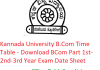 Kannada University B.Com Time Table 2020 - Download BCom Part 1st-2nd-3rd Year Exam Date Sheet