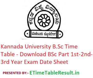 Kannada University B.Sc Time Table 2020 - Download BSc Part 1st-2nd-3rd Year Exam Date Sheet