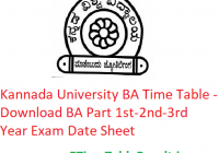 Kannada University BA Time Table 2020 - Download BA Part 1st-2nd-3rd Year Exam Date Sheet