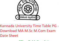 Kannada University Time Table 2020 PG - Download MA M.Sc M.Com Exam Date Sheet