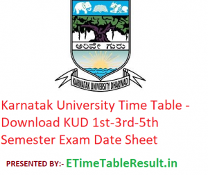Karnatak University Time Table 2019-20 - Download KUD 1st-3rd-5th Semester Exam Date Sheet