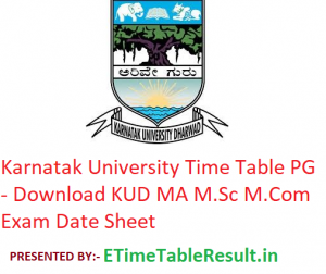 Karnatak University Time Table 2020 PG - Download KUD MA M.Sc M.Com Exam Date Sheet
