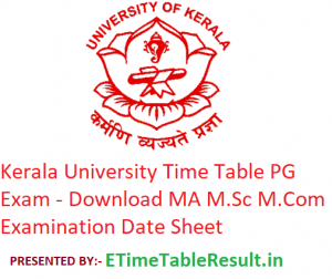 Kerala University Time Table 2020 PG Exam - Download MA M.Sc M.Com Examination Date Sheet