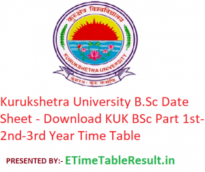 Kurukshetra University B.Sc Date Sheet 2020 - Download KUK BSc Part 1st-2nd-3rd Year Time Table