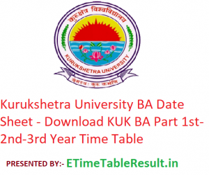 Kurukshetra University BA Date Sheet 2020 - Download KUK BA Part 1st-2nd-3rd Year Time Table