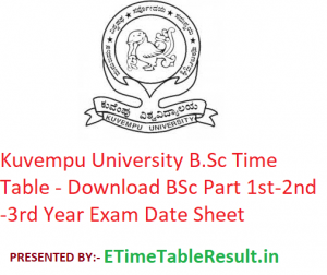 Kuvempu University B.Sc Time Table 2020 - Download BSc Part 1st-2nd-3rd Year Exam Date Sheet