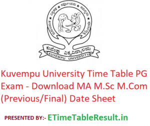 Kuvempu University Time Table 2020 PG Exam - Download MA M.Sc M.Com (Previous/Final) Date Sheet
