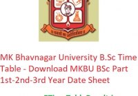 MK Bhavnagar University B.Sc Time Table 2020 - Download MKBU BSc Part 1st-2nd-3rd Year Date Sheet